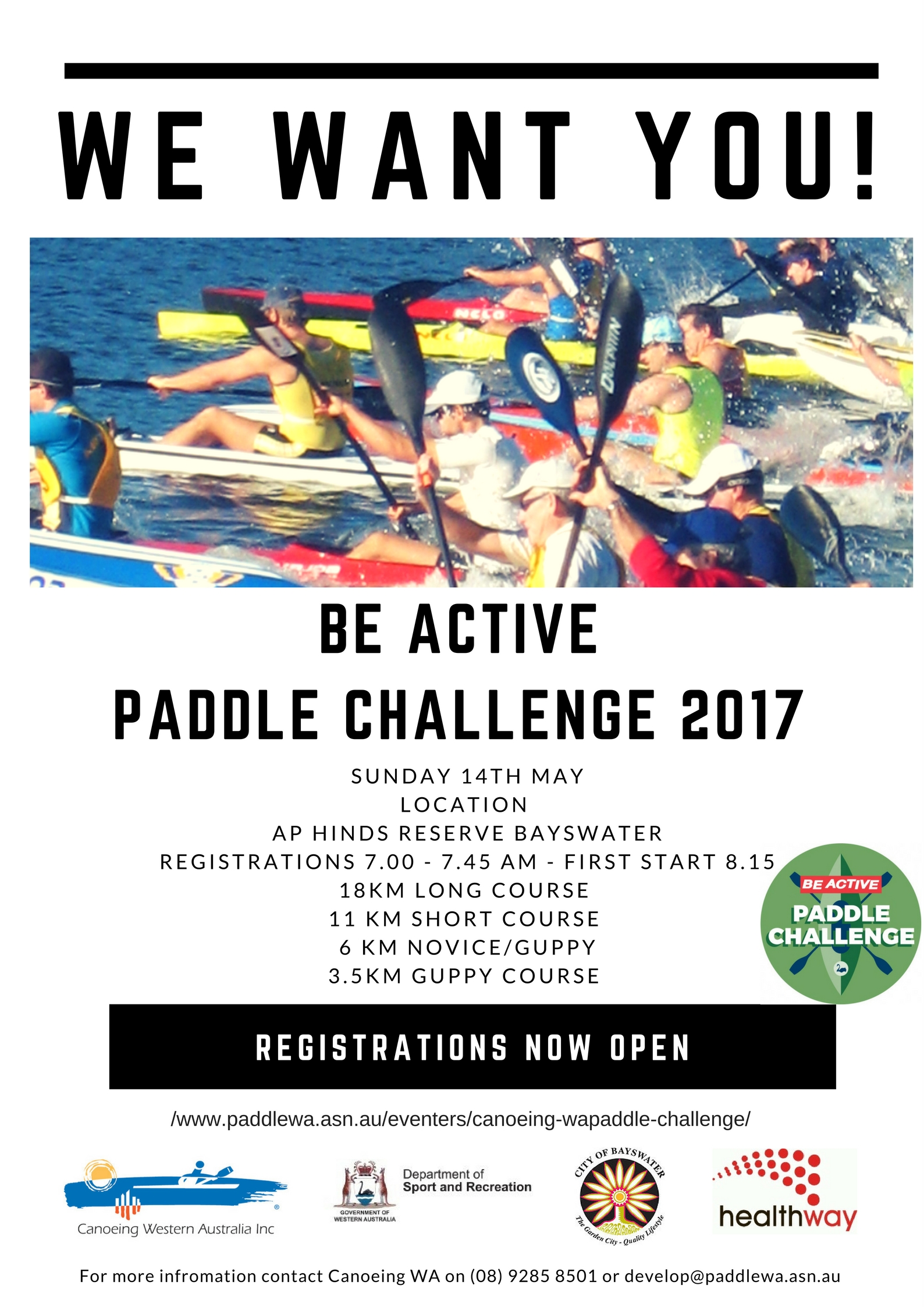 Be active Paddle Challenge May 14th – Canoeing WA